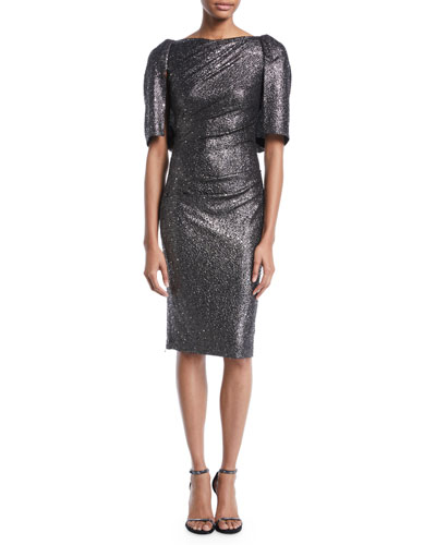 Lobata Cape-Sleeve Glitter Jersey Sheath Cocktail Dress