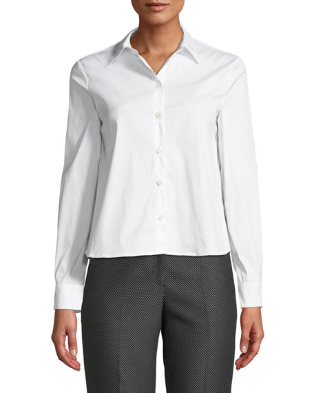 Button-Front Long-Sleeve Stretch Poplin Shirt w/ Pleated Back