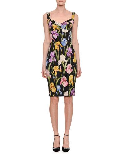 Sweetheart-Neck Sleeveless Iris-Print Sheath Cocktail Dress