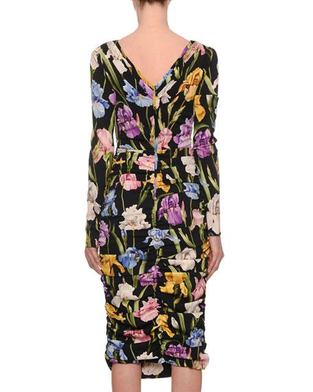 Long-Sleeve V-Neck Ruched Iris-Print Tea-Length Daytime Dress