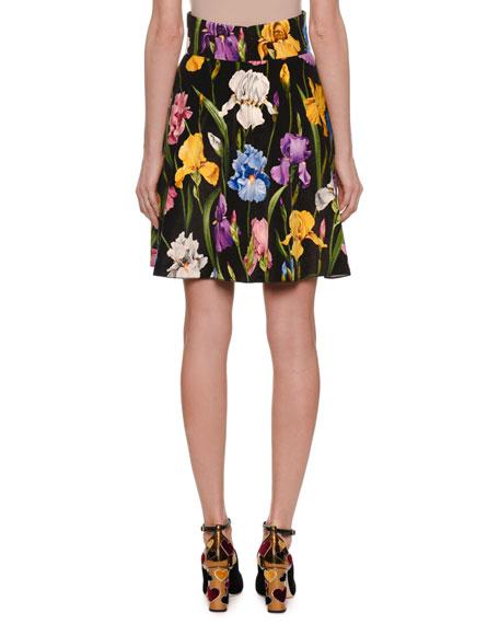 Iris-Print Velvet Pleated Skirt