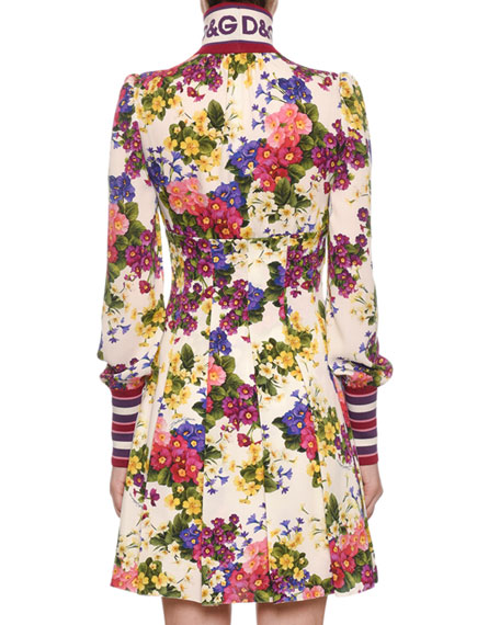 Mock-Neck Zip-Front Long-Sleeve Floral-Print Jersey Dress w/ Ribbed Trim