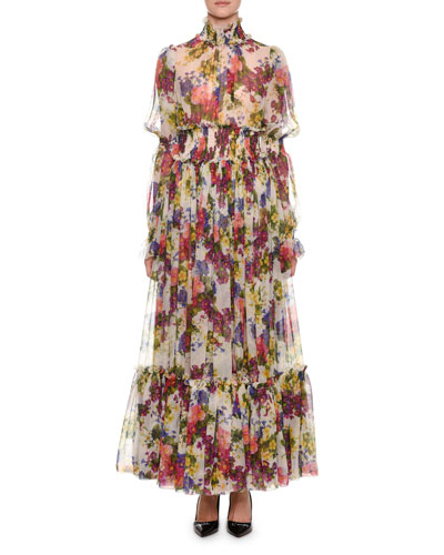Mock-Neck Long-Sleeve Ruched-Waist Floral-Print Chiffon Long Gown