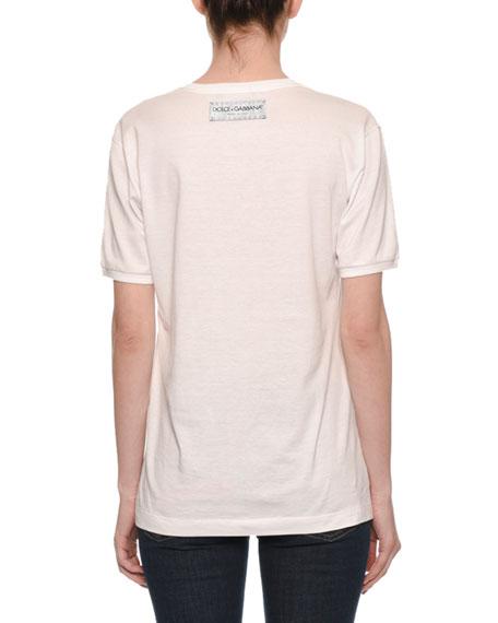 Short-Sleeve Crewneck Model Love-Patch T-Shirt