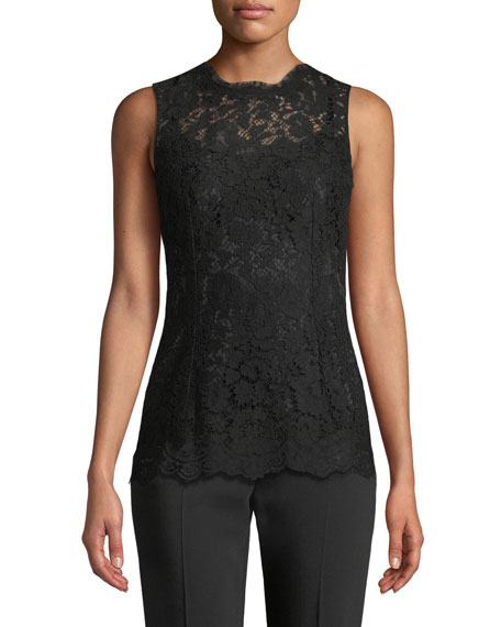 Dolce & Gabbana Crewneck Sleeveless Lace Shell Top