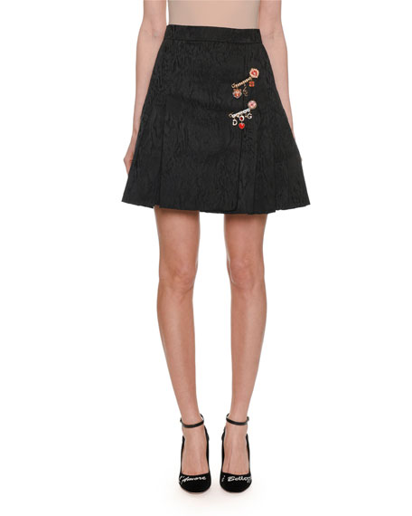 A-Line Pleated Jacquard Short Skirt w/ Embellished Pin Detail