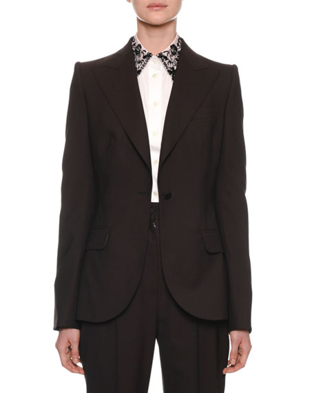 Dolce & Gabbana Peak-Lapel One-Button Light-Wool Jacket and