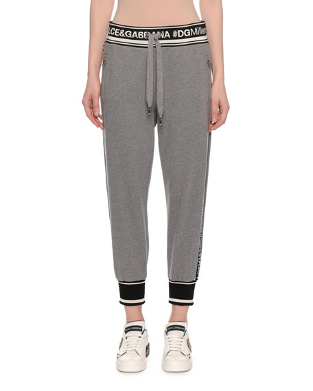 Logo Bands Cropped Jersey Sweatpants, Gray