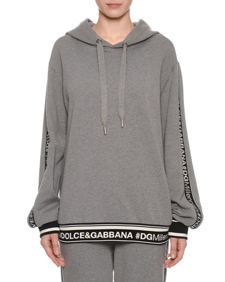DG Millennial Logo Long-Sleeve Hooded Oversized Sweatshirt