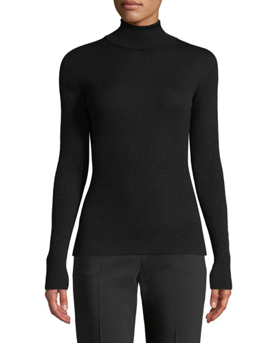Turtleneck Long-Sleeve Ribbed Sweater