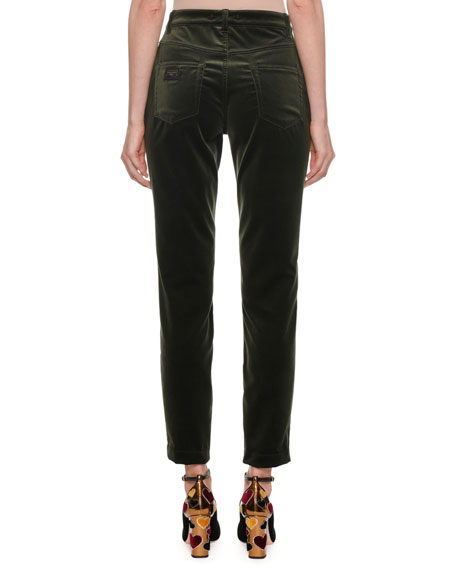 High-Waist Five-Pocket Straight-Leg Velvet Pants