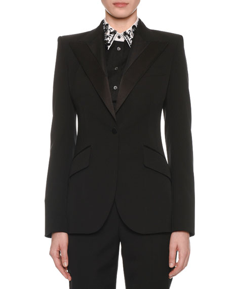 Satin-Lapel One-Button Tuxedo Jacket
