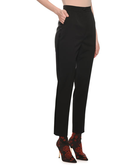 High-Waist Straight-Leg Tuxedo Pants