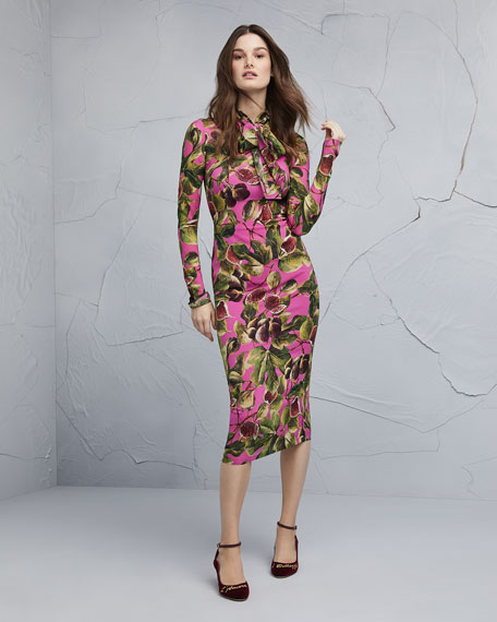 Long-Sleeve Tie-Neck Fig-Print Mid-Calf Dress