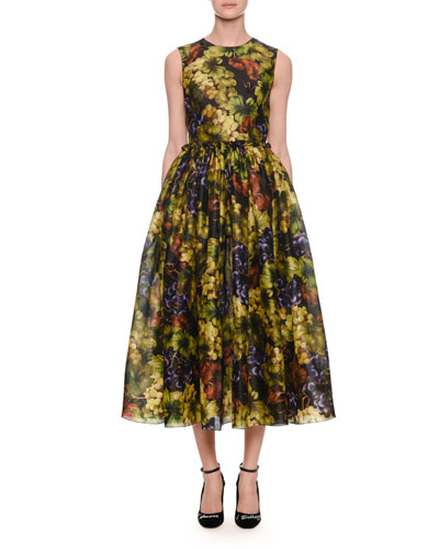 Sleeveless Fit-and-Flare Grape-Print Ankle-Length Cocktail Dress