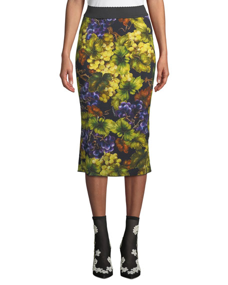 Dolce & Gabbana Elastic-Waist Grape-Print Tube Skirt