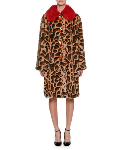 Strawberry-Buttons Leopard-Print Faux-Fur Mid-Calf Coat
