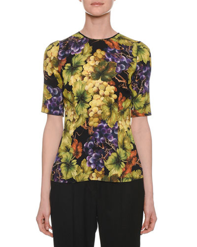 Crewneck Elbow-Sleeve Grape-Print Fitted Top