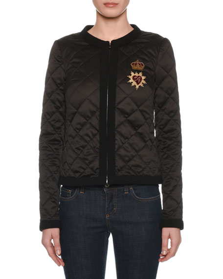 Diamond Quilted Sacred Heart Jacket in Black