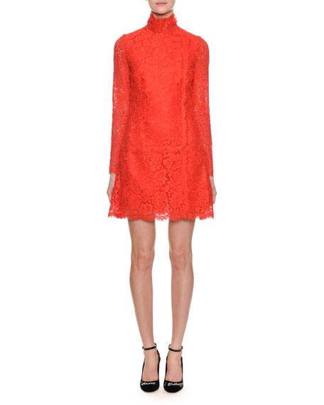 Mock-Neck Long-Sleeve A-Line Mini Lace Dress