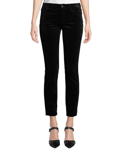 Pretty Fit Mid-Rise Straight-Leg Velvet Pants