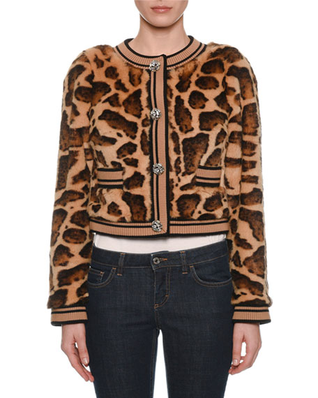 Faux-Fur Leopard Cropped Chubby Jacket