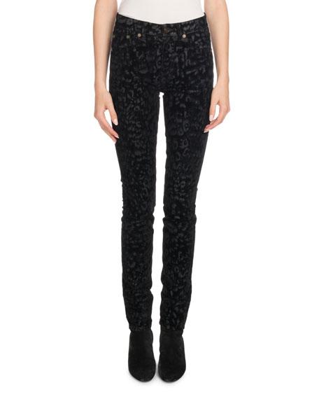 Mid-Rise Skinny Leopard-Flock Velvet Jeans