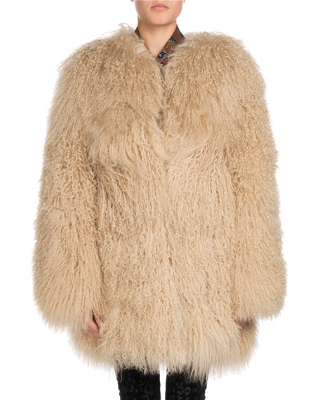 Long Hair Mongolian Goat 3/4-Length Coat, Beige