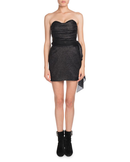 Strapless Shirred Top Fitted Mini Cocktail Dress