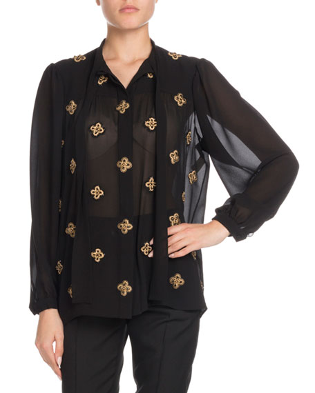 Saint Laurent Tie-Neck Long-Sleeve Embroidered Silk Blouse and