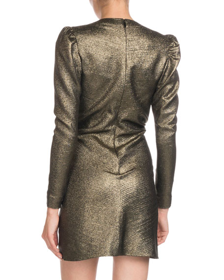 Deep-V Long-Sleeve Gathered Metallic Silk Cocktail Dress