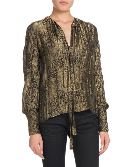 Tie-Neck Long-Sleeve Metallic Blouse