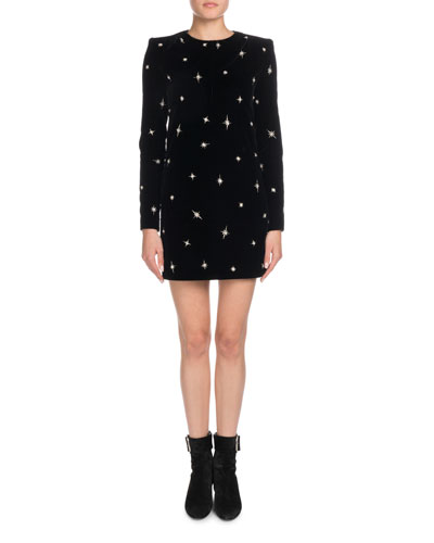 Jewel-Neck Long-Sleeve Chemise Cocktail Dress w/ Star Embroidery