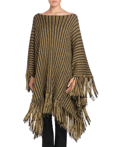 Metallic-Striped Oversized Poncho with Fringe Hem