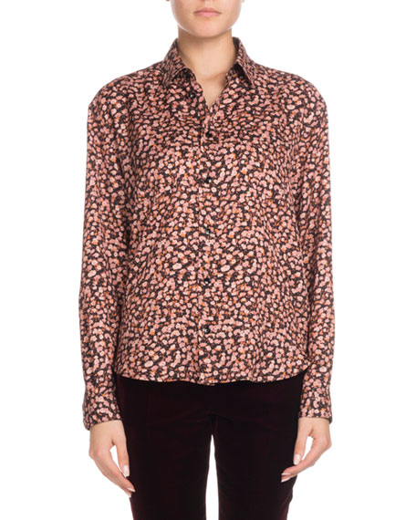 Long-Sleeve Button-Front Tiny Floral-Print Silk Shirt
