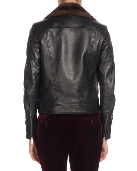 Mink Fur-Collar Leather Moto Jacket