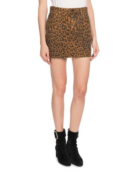 A-Line Leopard-Print Mini Skirt