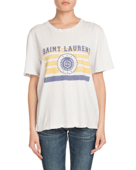University-Medallion on Stripes Crewneck Short-Sleeve Cotton T-Shirt