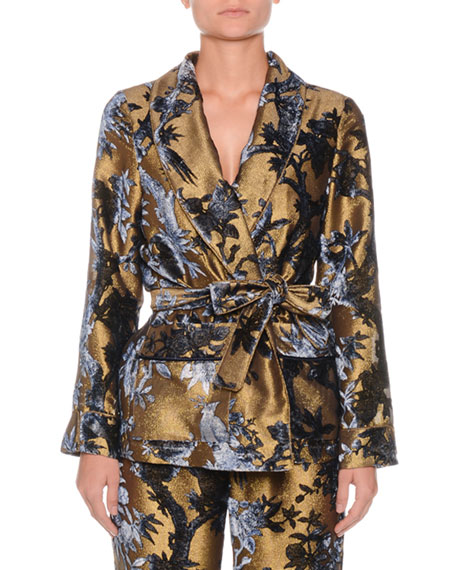 Metallic Devore Foliage Applique  Robe Top w/ Tie Waist