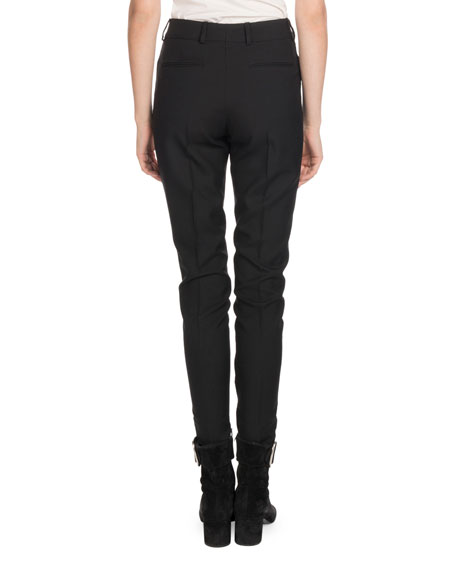 Mid-Rise Flat-Fly Slim-Leg Wool Pants w/ Tux Stripe