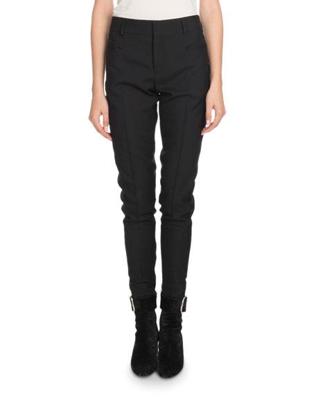 Saint Laurent Mid-Rise Flat-Fly Slim-Leg Wool Pants w/