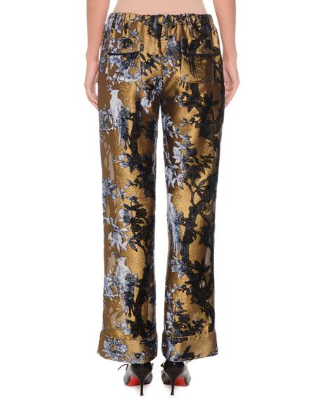 Mid-Rise Metallic Devoré Foliage Applique Cuffed Pants