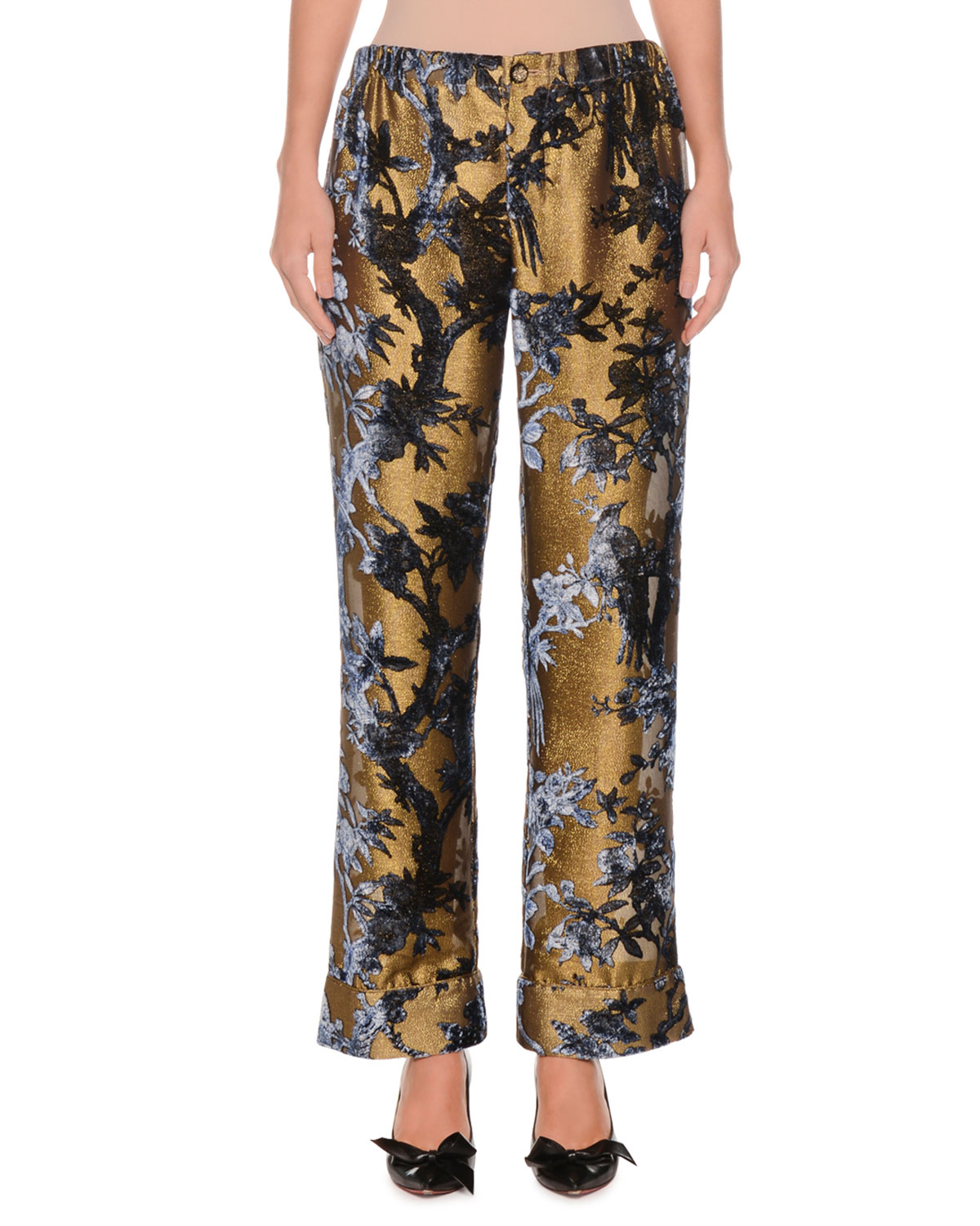 358cd8545ef2 F.R.S For Restless SleepersMid-Rise Metallic Devore Foliage Applique Cuffed  Pants