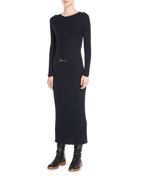 LUISA CREWNECK LONG-SLEEVE RIBBED WOOL MAXI DRESS