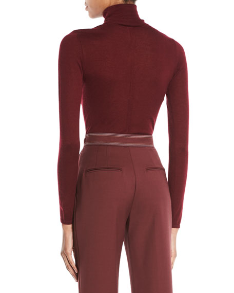 Turtleneck Long-Sleeve Cashmere-Silk Top