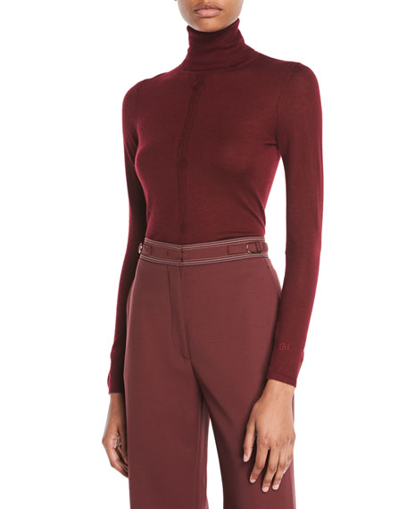 Gabriela Hearst Turtleneck Long-Sleeve Cashmere-Silk Top