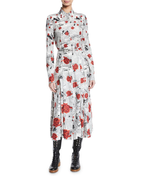 Jane Button-Front Long-Sleeve Newspaper & Rose Print Shirtdress, Red Pattern