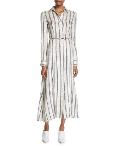 Jane Button-Front Long-Sleeve Printed Silk Twill Shirtdress