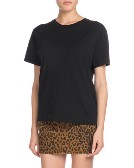 Crewneck Short Sleeve Cotton T Shirt W/ Logo On Shoulder by Saint Laurent