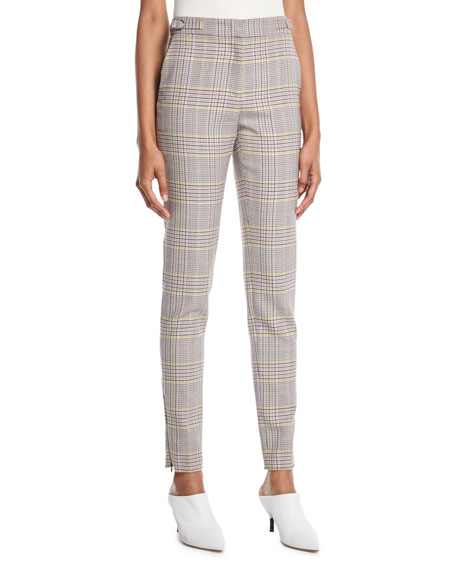 Lisa Skinny Plaid Wool Sportswear Pants